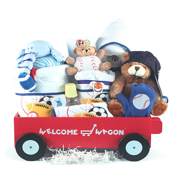 Deluxe Welcome Wagon for Baby Boys Gift Basket