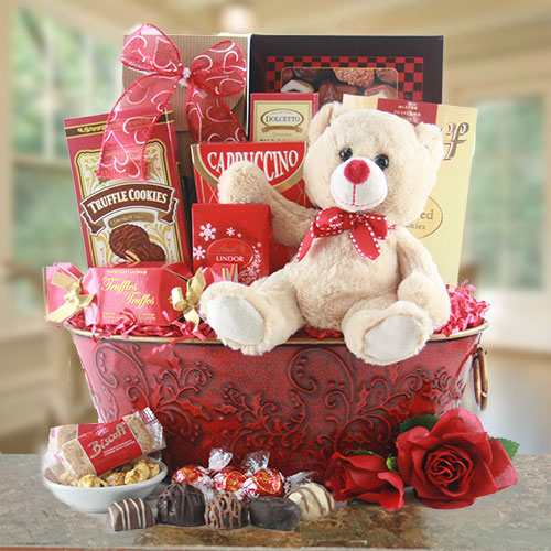 Valentines Day Teddy Bear Basket