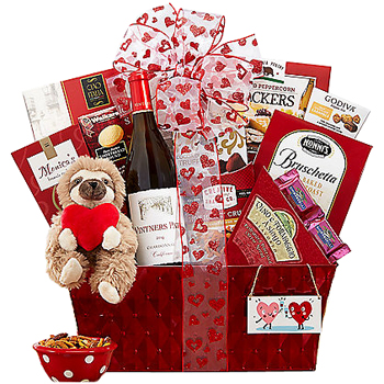 Valentines Day Wine and Treats Gift Basket