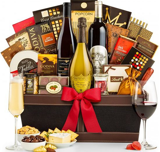 Dom-Perignon-Champagne-and-Wine-Gift-Basket