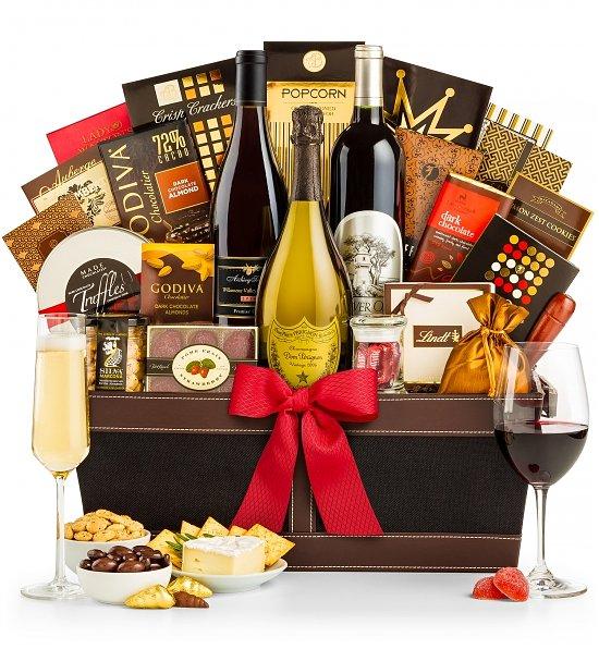 Dom-Perignon-Champagne-and-Wine-Gift-Basket