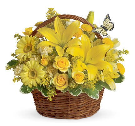 Yellow Floral Arrangement in a Basket