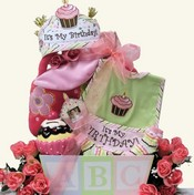 Baby's 1st Birthday Bash Baby Girls Gift Basket