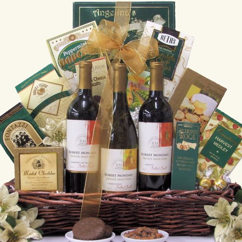 Wonderful Wine Trio Christmas Holiday 3 Wine & Gourmet Gift Basket