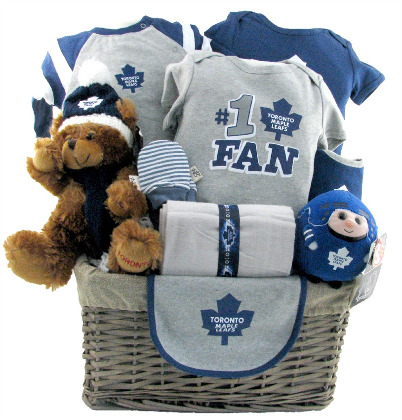 Toronto maple leafs hockey basket deluxe baby boys gift toronto maple leafs hockey basket deluxe baby boys gift baskets canada sendluv negle