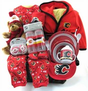 Calgary Flames Hockey Team Baby Basket ~ DELUXE