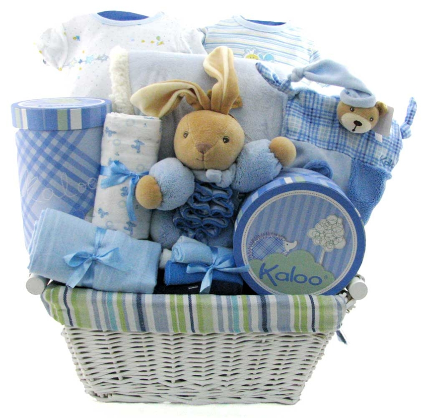 Baby Gift Baskets Boots : Baby boy blue kaloo deluxe boys gift baskets