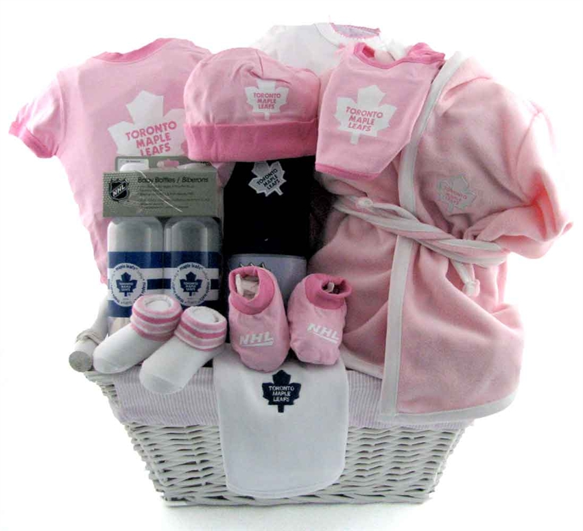 Baby gift basket ideas sendluv gift baskets toronto maple leafs girls gift deluxe negle Images